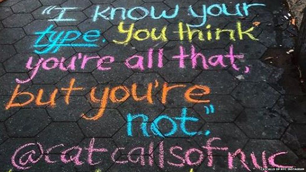 Student writes unwanted catcalls on pavements in New York