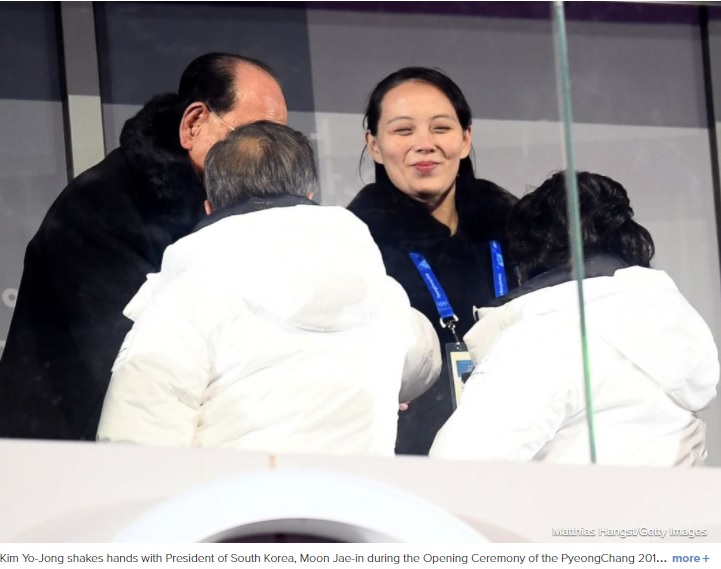Kim Jong Uns sister shakes hands with South Koreas president at Olympics opening ceremony