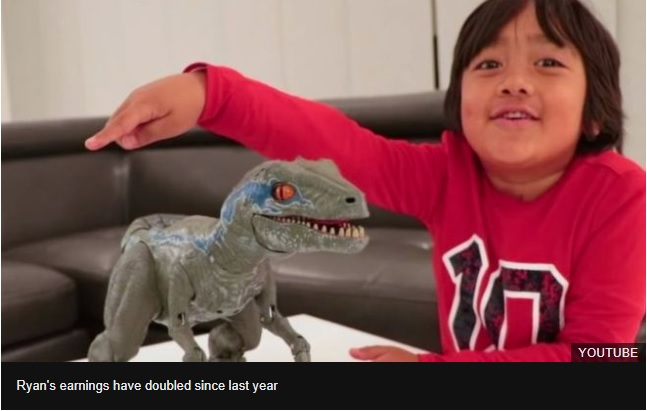 YouTube top earners: The seven-year-old making $22m