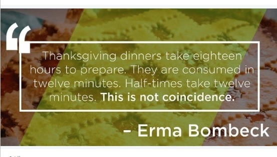 Thanksgiving dinners vs. half-times